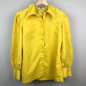 VTG 70s Montgomery Ward Yellow Blouse Made Japan